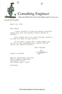 Thumbnail of Letter from James H. Grau to Mark H. McCormack