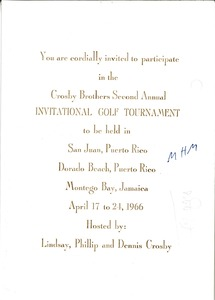Thumbnail of Invitation to the Crosby Brothers Second Annual Invitational Golf Tournament