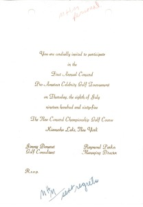 Thumbnail of Invitation to the First Annual Concord Pro Amateur Celebrity Golf Tournament