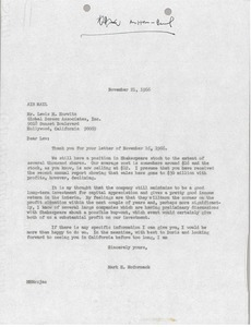 Thumbnail of Letter from Mark H. McCormack to Lewis M. Horwitz