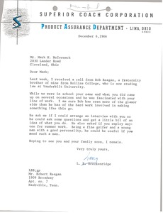 Thumbnail of Letter from Larry B. Breckenridge to Mark H. McCormack
