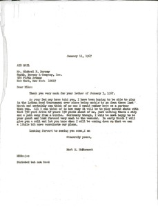 Thumbnail of Letter from Mark H. McCormack to Michael F. Dorsey