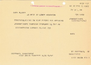 Thumbnail of Telegram from Mark H. McCormack to Gary Player