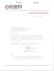 Thumbnail of Letter from S.E. Hibben to Mark H. McCormack