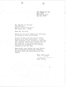 Thumbnail of Letter from Gary Olson to Chester R. Simmons