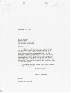 Thumbnail of Letter from Mark H. McCormack to Sheraton West