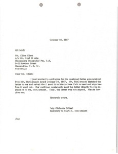 Thumbnail of Letter from Judy A. Chilcote to Clive Clark