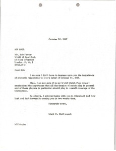 Thumbnail of Letter from Mark H. McCormack to World of Sport Limited