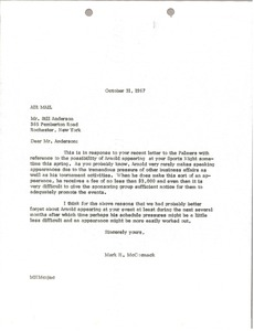 Thumbnail of Letter from Mark H. McCormack to Bill Anderson