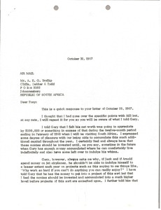 Thumbnail of Letter from Mark H. McCormack to Anthony E. G. Trollip