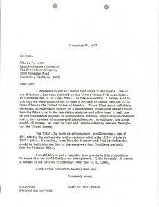 Thumbnail of Letter from Mark H. McCormack to E. F. Laux