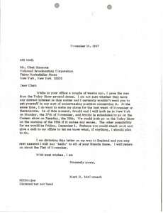 Thumbnail of Letter from Mark H. McCormack to Chet Simmons