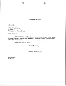 Thumbnail of Letter from Mark H. McCormack to Winnie Palmer