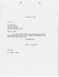 Thumbnail of Letter from Mark H. McCormack to Hal Power