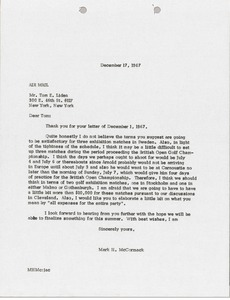 Thumbnail of Letter from Mark H. McCormack to Tom E. Liden