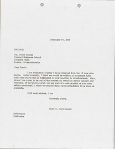 Thumbnail of Letter from Mark H. McCormack to Harvard Business School
