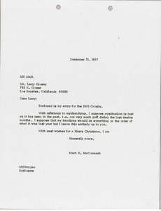 Thumbnail of Letter from Mark H. McCormack to Larry Crosby
