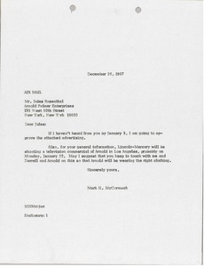 Thumbnail of Letter from Mark H. McCormack to Arnold Palmer Enterprises