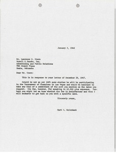 Thumbnail of Letter from Mark H. McCormack to Bozell and Jacobs, Incorporated