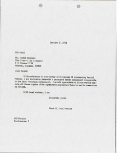 Thumbnail of Letter from Mark H. McCormack to Coca-Cola Company