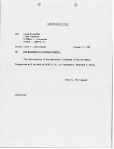 Thumbnail of Memorandum from Mark H. McCormack to Jules Rosenthal, Frank Abramoff, William H.         Carpenter, Arthur J. Lafave