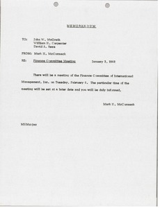 Thumbnail of Memorandum from Mark H. McCormack to John W. McGrath, William H. Carpenter, David A.         Rees