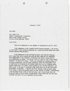 Thumbnail of Letter from Mark H. McCormack to Victor Comptometer Corporation