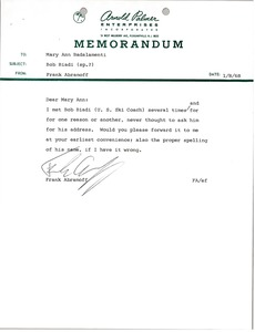 Thumbnail of Memorandum from Frank Abramoff to Mary Ann Badalamenti