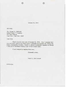 Thumbnail of Letter from Mark H. McCormack to Robert H. Birkhold