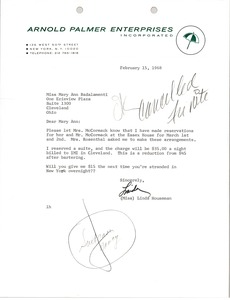 Thumbnail of Letter from Arnold Palmer Enterprises to Mary Ann Badalamenti