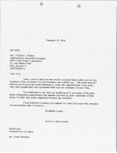 Thumbnail of Letter from Mark H. McCormack to IBM World Trade Corporation