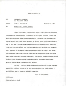 Thumbnail of Memorandum from Mark H. McCormack to William H. Carpenter and Richard R. Alford
