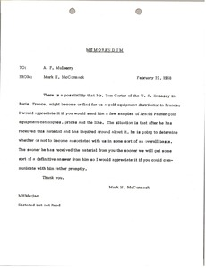 Thumbnail of Memorandum from Mark H. McCormack to Al F. Mulberry
