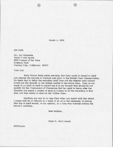 Thumbnail of Letter from Mark H. McCormack to Jay Michaels