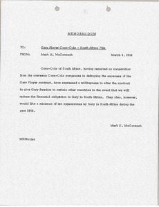 Thumbnail of Memorandum from Mark H. McCormack to Gary Player