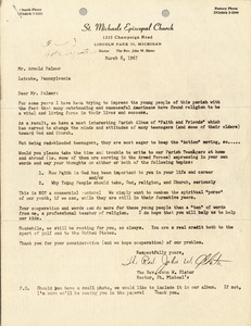 Thumbnail of Letter from John W. Slater to Arnold Palmer