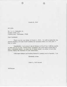 Thumbnail of Letter from Mark H. McCormack to L. Hardwick Caldwell Jr.