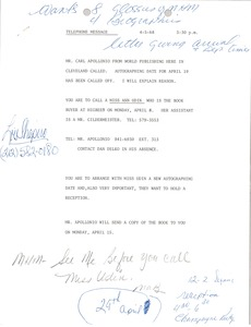 Thumbnail of Telephone notes for Mark H. McCormack