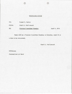 Thumbnail of Memorandum from Mark H. McCormack to Robert S. Burton