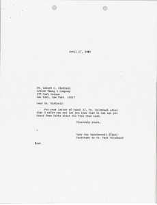 Thumbnail of Letter from Mary Ann Badalamenti to Robert H. Birkhold