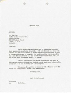 Thumbnail of Letter from Mark H. McCormack to Dunlop Sports Company Limited