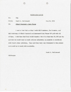 Thumbnail of Memorandum to Allied Chemical Gary Player file