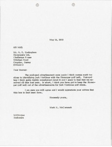 Thumbnail of Letter from Mark H. McCormack to Slazengers Limited