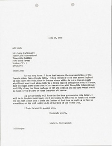 Thumbnail of Letter from Mark H. McCormack to Time-Life International