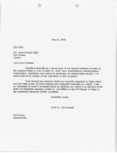 Thumbnail of Letter from Mark H. McCormack to Jean Claude Killy