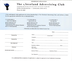 Thumbnail of Membership application to the Cleveland Advertising Club