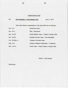 Thumbnail of Memorandum concerning 1969 Schedule, South African Tour