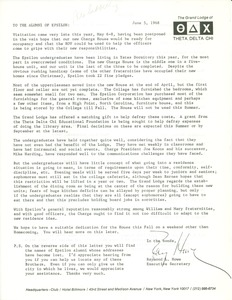 Thumbnail of Letter from Raymond L. Howe to Alumni of Epsilon