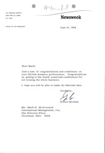 Thumbnail of Letter from Newsweek, inc. to Mark H. McCormack