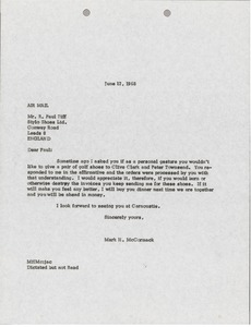 Thumbnail of Letter from Mark H. McCormack to Paul Ziff